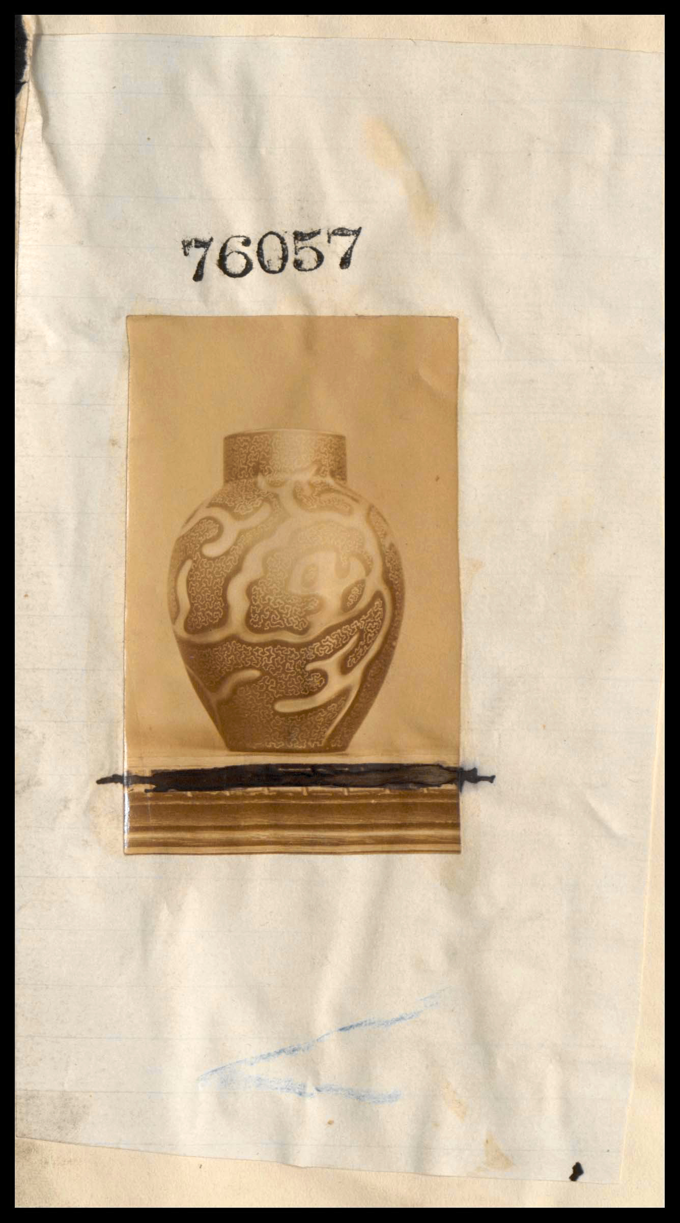 Registry document for 76057 showing photo of Octopus vase